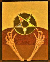 Skeletthände, Pentagramm, Tarot, Mischtechnik