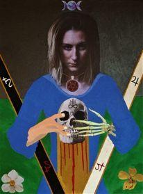 Hand, Priesterin, Schädel, Mischtechnik
