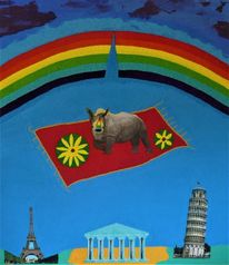 Regenbogen, Nashorn, Fliegender teppich, Mischtechnik
