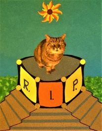Katze, Podest, Tarotkarte, Mischtechnik