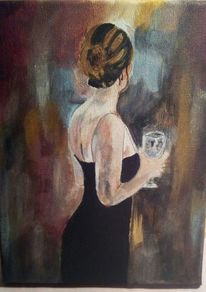 Acrylmalerei, Frau, Bar, Malerei