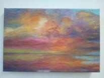 Sonnenuntergang, Landschaft, Frühling, Meer
