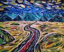 Allgäuer, Blau, Wolken, Expressionismus