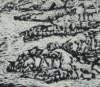 Linolschnitt, Küste, Welle, Felsen