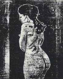 Portrait, Akt, Holzdruck, Xylografi