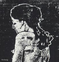 Frau, Traesnit, Xylografi, Gravure sur bois