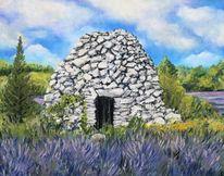 Lavendel, Landschaft, Provence, Malerei