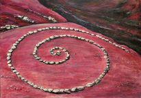 Acrylmalerei, Landschaft, Malerei, Vulkan