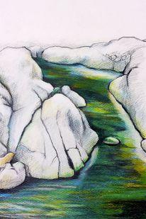 Wasser, Fluss, Felsen, Malerei