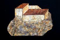 Haus, Provence, Felsen, Malerei