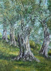 Toskana, Landschaft, Olivenbäume, Malerei