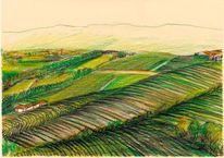 Piemon, Buntstiftzeichnung, T landschaft, Italien
