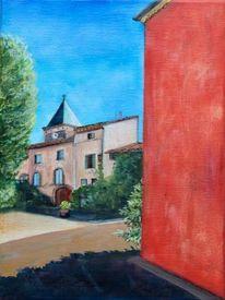 Dorf, Wand, Rot, Malerei