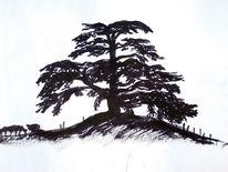 Tusche, Zedernholz, Piemont, Malerei