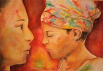 Portrait, Afrika, Malerei, Aquarellmalerei