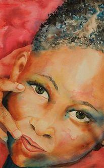 Portrait, Menschen, Afrika, Aquarellmalerei