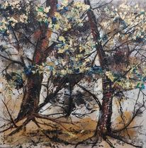 Malerei, Karin, Baum, Gold