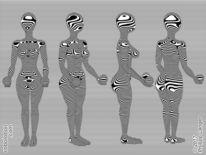Zebrastreifen, Kurve, Figur, Schwarzweiß