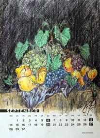 Weintrauben, August, Stillleben, Birne