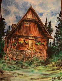 Gaststätte, Wald, Kürbiskernland, Kitsch