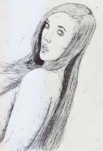 Lange haare, Frau, Reiz, Model