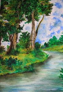 Baum, Fluss, Grün, Landschaft