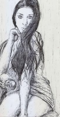 Lange haare, Minirock, Schön, Frau