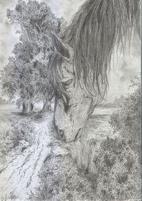 Pferd, Hors, Landschaft, Alte meister