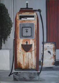 Zapfsäule, Benzin, Ölfass, Diesel