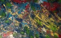 Abstrakt, Blau, Gelb, Malerei
