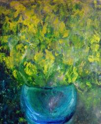 Gelbe blumen, Kontrast, Starker hell, Blaue vase