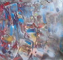 Blau, Silber, Aprikot, Malerei