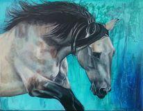 Pferde, Falbe, Türkis, Malerei