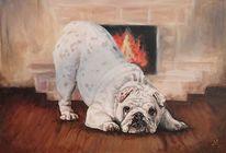 Hund, Bulldogge, Kamin, Malerei