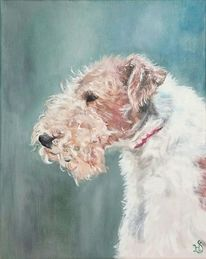 Hund, Foxterrier, Terrier, Malerei