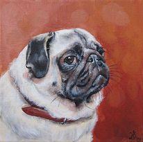 Portrait, Mops, Hund, Malerei