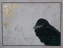 Krähe, Vogel, Gold, Malerei