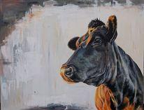 Holsteiner, Kuh, Dämmerung, Malerei