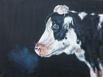 Kuh, Kuhkopf, Schwarz weiß, Malerei