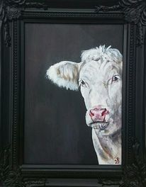 Weiß, Kuh, Rind, Malerei