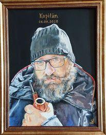 Pfeife, Portrait, Mann, Malerei