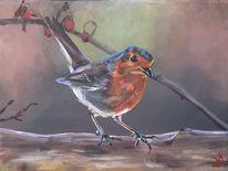 Hagebutte, Rotkehlchen, Vogel, Malerei