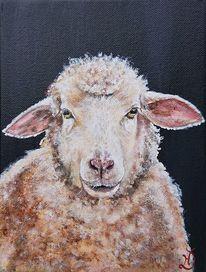 Schaf, Bauernhof, Portrait, Malerei