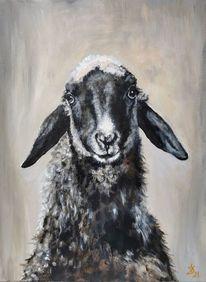 Lamm, Portrait, Schaf, Malerei