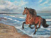 Strand, Meer, Pferde, Malerei