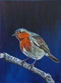Vogel, Rotkehlchen, Blau, Malerei