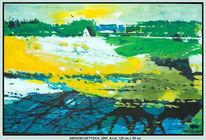 Landschaft, Blau, Malerei, Acrylmalerei