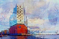 Kunstdrucke, Elbe, Hamburger hafen, Hafen hamburg