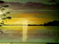 Sonnenaufgang, See, Malerei