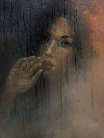 Ölmalerei, Fenster, Frau, Menschen